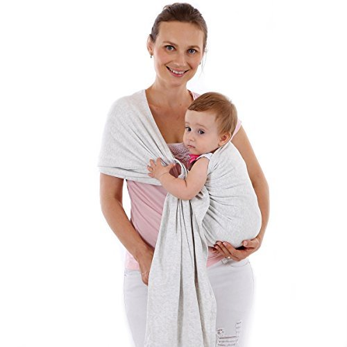Baby Sling Carrier,Birth to 3 Yr Breastfeeding Nursing Cover Super Soft 100% Organic Cotton Baby Wrap by Liberty Slings Hands Free Ergonomics Baby Carrier (White Ma gray)