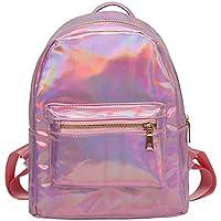 Women Fashion Holographic Laser Leather Backpack Shoulder bag Blink Casual Daypack