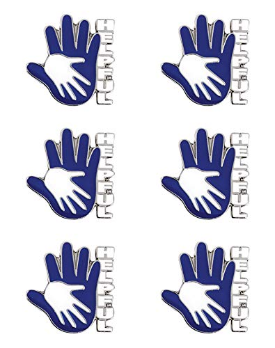 - Helpful Hands Blue and White Die-Cut Character Award Pins, 6 Count