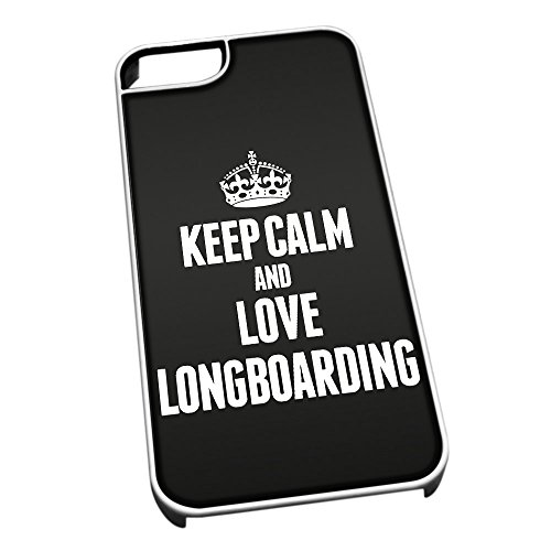 Bianco cover per iPhone 5/5S 1823nero Keep Calm and Love Longboarding
