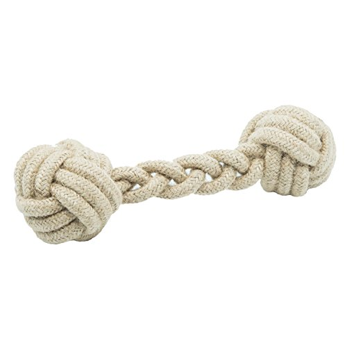 387fd0cfb185 FlossyTossy by iHeartDogs – Natural Hemp Rope Dumbbell Toy that Flosses  Dogs' Teeth Through Play   Provides 1 Dog Toy for a Shelter in Need