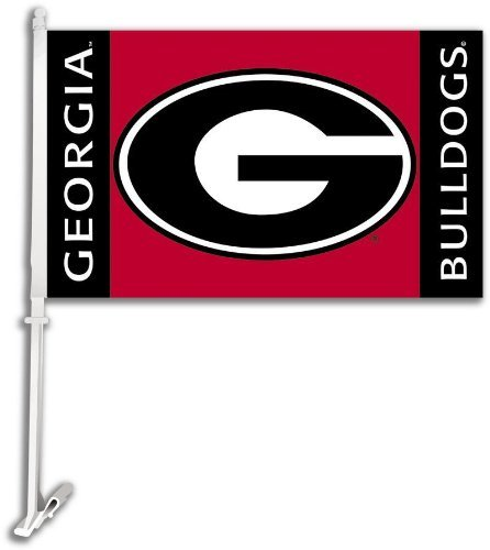 NCAA Georgia Bulldogs Car Flag G Logo with Free Wall Bracket (Georgia Bulldogs Car Kit)