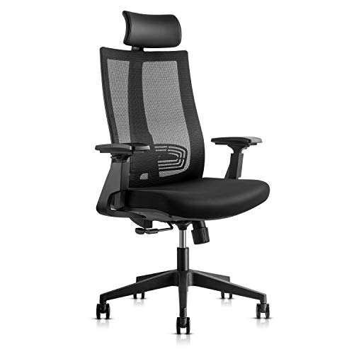 Ergonomic Adjustable Office Chair, High Back Computer Desk Chair with Lumbar Support, 3D Armrest, Headrest and Soft Seat Cushion Reclining Mesh Chair