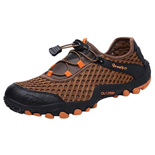 iHPH7 Shoes Water Shoes Quick Drying Sports New Shoes Mesh Shoes Leisure Sports Shoes are Breathable in Summer Shoe Men's (42,Brown)