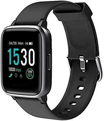 KUNGIX Smart Watch, Full Touch Screen Fitness Tracker with Heart Rate Monitor, 5ATM Waterproof Smartwatch Pedometer, Activity Tracker Sport Wristband ...