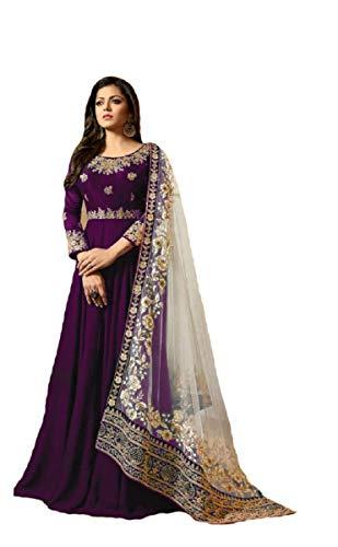 New Desiner Indian/Pakistani Ethnic wear Georgette Anarkali Gown LT (Purple, X-SMALL-36)