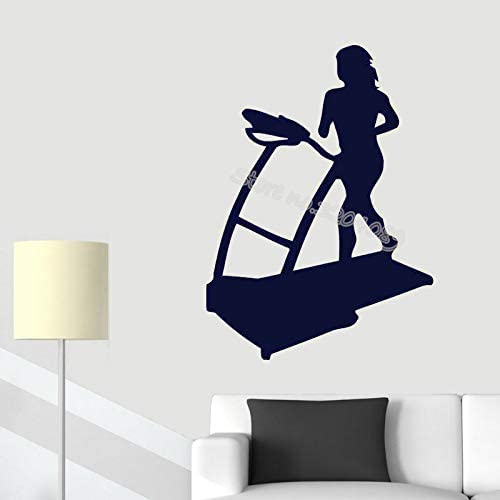 jiushivr Cinta de Correr Femenina Ejercicio Calcomanías de Pared Correr Calcomanía para Trotar Sport Girl Room Decor Gym Mural Running Silhouette Art Mural 56x74cm: Amazon.es: Hogar