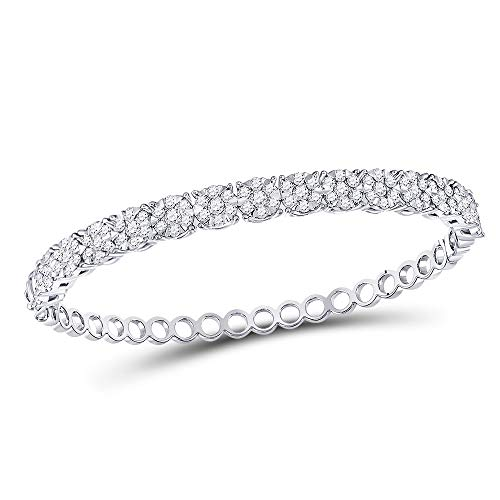 FB Jewels Solid 14kt White Gold Womens Round Diamond Cluster Bangle Bracelet 3.00 ()