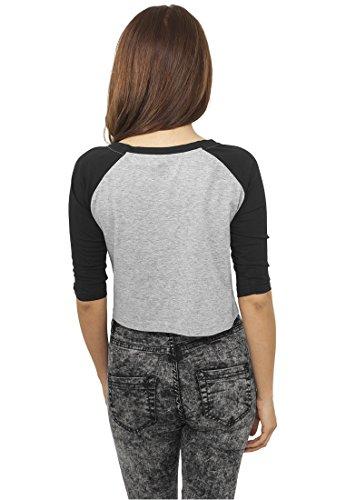 Mujeres Recortada 3/4 Camiseta Raglan gry/blk