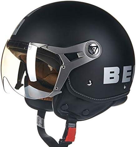 ZJJ ヘルメット- セミカバーヘルメット、ユニセックスヘルメット、雨および紫外線保護用ヘルメット、ライトシルバーメッキショートレンズ (色 : マットブラック まっとぶらっく, サイズ さいず : M)
