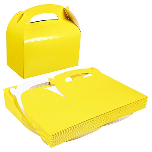 Pack of 24 Treat Boxes - Gable Favor Boxes - Fun Party Play Goodie Boxes - 2 Dozen Bright Yellow Birthday Party Shower Loot Gift Boxes - 24 Count - 6.2 x 3.5 x 3.6 Inches