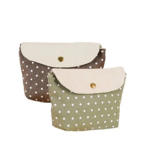 Garrelett Spotty Dot Metal Clasp Cotton Tote Handbag Wallet for Women Girls Kids, Coins Purse Card Holder Cosmetic Bag Pencil Case Pouch for Storing Phone Pens Cash (2PCS Green and Brown)