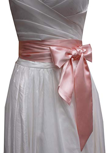 Wedding satin sash belt for special occasion dress bridal sash (Blush)