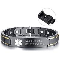 "Custom Free Engraving Black Stainless Steel Magnetic Therapy Health Emergancy Medical Alert ID Bracelets for Men Dad,8.6"""