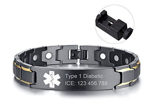 Custom Free Engraving Black Stainless Steel Magnetic Therapy Health Emergancy Medical Alert ID Bracelets for Men Dad,8.6'' by Mealguet Jewelry