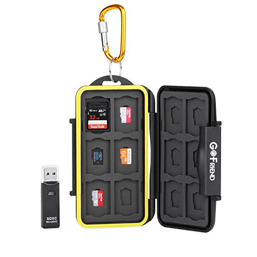GoFriend Water-Resistant 24 Slots Memory Card Carrying Cases Professional Anti-shock Holder Storage SD SDHC SDXC and Micro SD TF Cards Protector Cover With Carabiner & Card Reader
