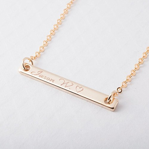 SAME DAY SHIPPING GIFT TIL 2PM CDT A Your Name Bar Necklace 16K Gold Plated Handstamp or Machine Engraving Personalize Charms Necklace bridesmaid Wedding Graduation Birthday Anniversary (Machine Jewelers)