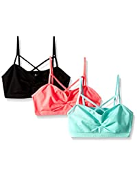 Pink House Big Girls' 3 Piece Criss Cross Seamless Bralette
