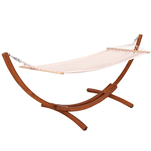 Giantex Wooden Curved Arc Wide Hammock Swing and Stand Set,white (123