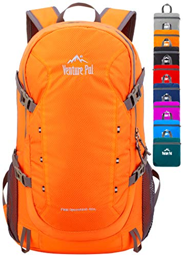 Venture Pal 40L Lightweight Packable Backpack with Wet Pocket - Durable Waterproof Travel Hiking Camping Outdoor Daypack for Women Men-Orange (Outdoor Day)