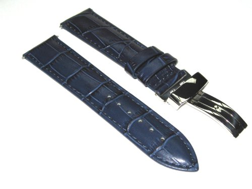20mm Leather Strap Band Deployment Rolex Watch Blue #1A
