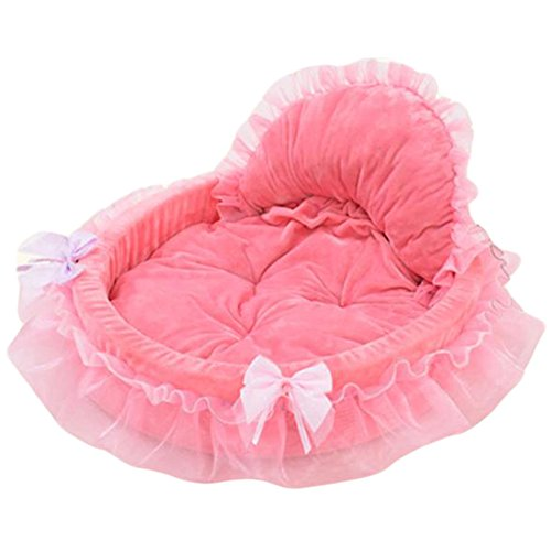 Saymequeen Coral Lace Princess Puppy Sofa Bed Cute Cat Cave Nest with Removable Warm Cushion (L, pink) by Pet-Saymequeen