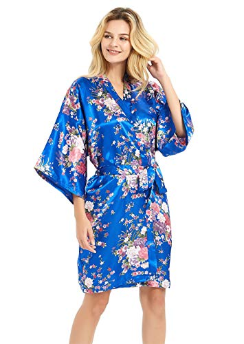 Women's Plus Size Silky Robes Bridesmaid Bridal Party Robes Wedding Sleepwear,Royal Blue,1X/2X