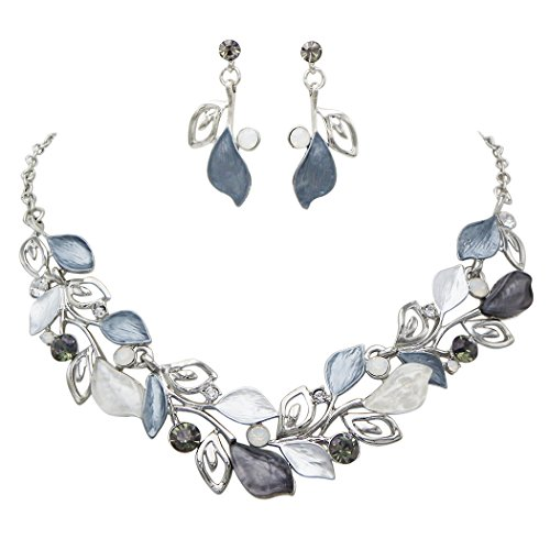Rosemarie Collections Women's Floral Leaf and Vine Statement Necklace Set (Floral Vine Jewelry Collection)