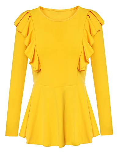 ANGGREK Casual Ruffle Tops for Women Round Neck Long Sleeve T Shirts Blouse Yellow -