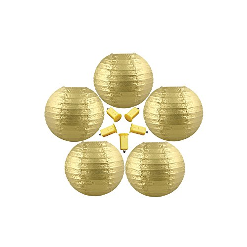 Neo-LOONS-5-Pack-6-Inch-Gold-Round-ChineseJapanese-Paper-Lanterns-Metal-Framed-Hanging-Lanterns-with-Warm-White-LED-Lights-For-Home-Decor-Parties-Weddings-and-DIY