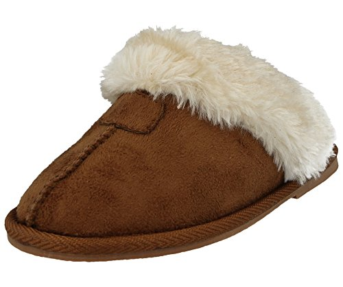 Ladies Kids Girls Ella JILL Faux Suede Fur Lined Trim Slip On Luxury Winter Gift Boxed Mules Slippers Size 3-9 Chestnut cxJPoH