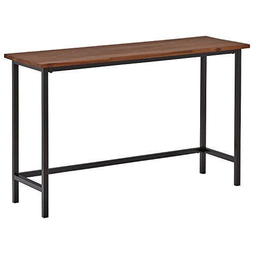 "Rivet Industrial Modern Counter-Height Console Bar Table, 47.25""W, Walnut Wood, Metal"