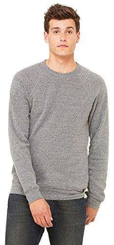 (Bella Canvas Men's Rib Knit Raglan Sleeve Sweatshirt, Grey Triblend, Small)