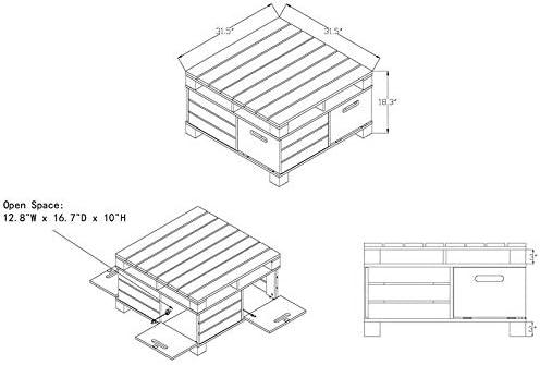 Furniture of America Bartoll Wood Square Storage Coffee Table