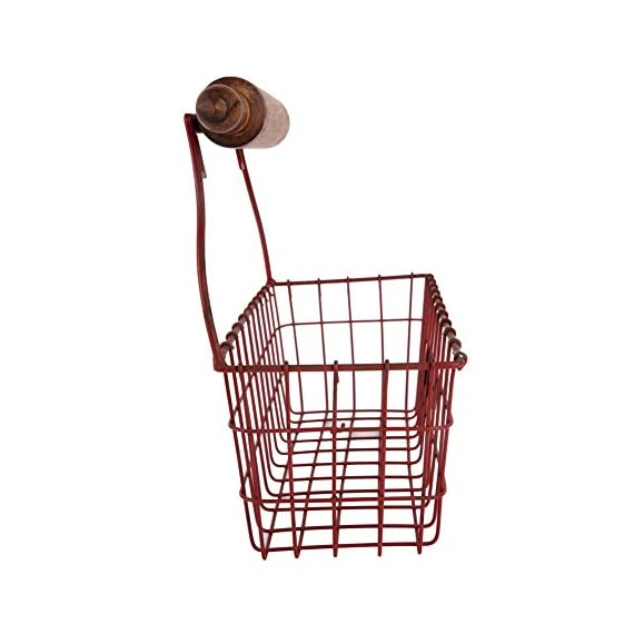 NIKKY HOME Decorative Wall Mounted Hanging Metal Wire Mesh Storage Basket with Rolling Pin, Red - Made of metal and wood with a distressed red finish Measures approx.12-1/4x5-3/8x10-1/4;Color: red Decorative, versatile storage basket with a wooden rolling pin design, needs 2 screws for hanging - wall-shelves, living-room-furniture, living-room - 416MWCFk76L. SS570  -