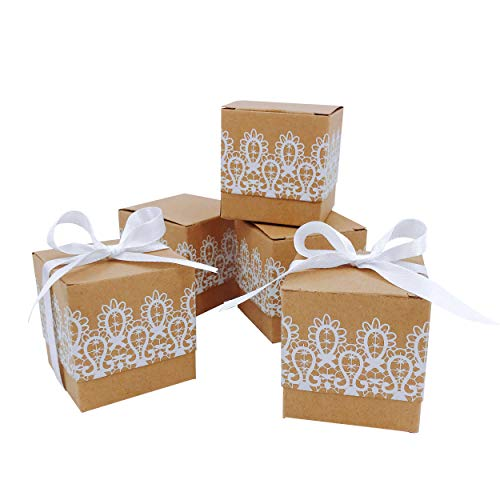 Rustic Wedding Favors Boxes Bridal Shower Candy Treat Boxes Decorations White Lace Bachelorette Party Cube Gift Boxes Decor Baby Shower Birthday Christmas Party Favor Supplies Boxes, ()
