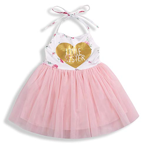Baby Girl Summer Outfits 1st Birthday Romper Top Sleeveless Floral Tutu Skirt 2Pcs Clothing Set (Love, 3-4 Years Old)