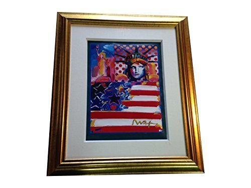 Peter Max God Bless America II hand embellished painting original RARE 32x38 - Peter Max Painting