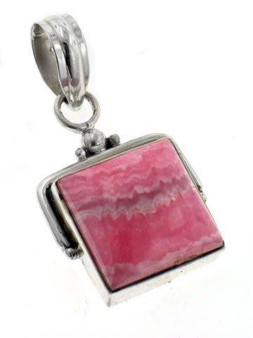Unique Handcrafted Pink Rhodochrosite Sterling Silver Square Slide Pendant (Silver Slide Pendant)