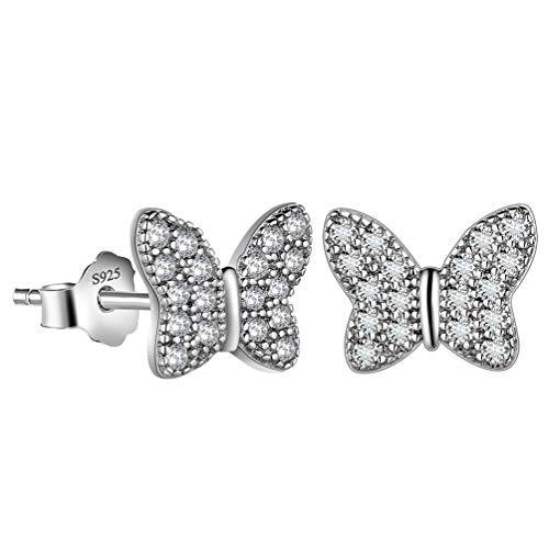 Sterling Silver Butterfly Pin - Besilver Women Butterfly Earrings 925 Sterling Silver Crystal Iced Out Stud Earrings Women Girl Bridesmaid Engagement Wedding Party Earrings Gift for Birthday Dating Jewelry FE0007W