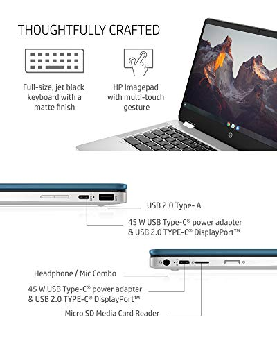 HP Chromebook x360 14a Laptop - Dual Core Intel Celeron N4020 - 4 GB RAM - 32 GB eMMC Storage - 14-inch HD Touchscreen - Google Chrome OS - Lightweight and Long Battery Life (14a-ca0030nr, 2020)