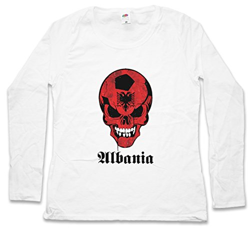 CLASSIC FOOTBALL ALBANIA SKULLFLAG DAMEN LANGARM T-SHIRT – Fußball Fan Hooligan Totenkopf Banner Fahne Albanien albanisch albanian DAMEN GIRLIE LANGARM T-SHIRT Größen S - 5XL