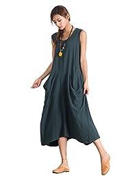 Sellse Women's Linen Cotton Loose Maxi Soft Summer Dress Large Clothing