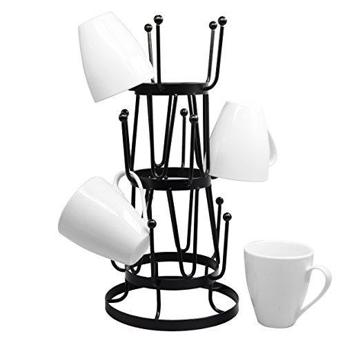 Stylish Steel Mug Tree Holder Organizer Rack Stand (Black) by Neat-O
