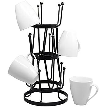 Amazon Com 5 Tier Brown Metal Wall Mounted Kitchen Mug