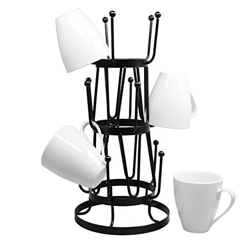 (Stylish Steel Mug Tree Holder Organizer Rack Stand (Black))