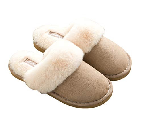 Warm Fuzzy Slipper Cozy Slippers Lined Khaki Fur Winter Womens qx0aSt0