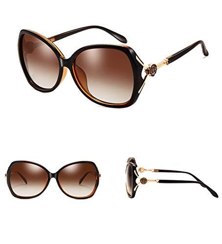 Ultravioleta La Tendencia Negras Gafas La Gafas De Señoras Grande Anti Caja Sol La Moda De WJYTYJ Polarizada De última XqFFAH