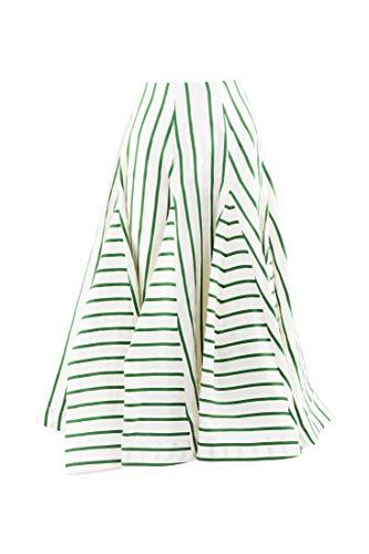 Rosie Assoulin Flouncy Skirt Green Striped Organza SZ 0