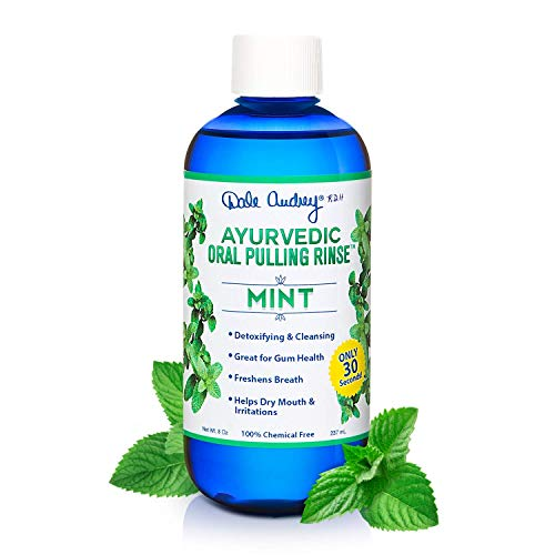 Dale Audrey   Oil Pulling Ayurvedic Mouthwash   Natural Mint Oral Health Rinse, Whitens Teeth, Healthy Gums, 8 oz   Organic, Vegan & Cruelty Free